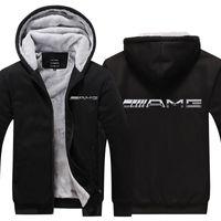 Mercedes AMG Erkek Kış Moda Dış Giyim Kalınlaşmak Ceket Slim Fit Fermuar Kapşonlu Yüksek Kaliteli Hoody Rahat Polar Sıcak Hoodies F1209