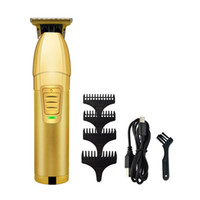 الأزياء المعادن الشعر المقص الكهربائية الحلاقة الرجال الصلب رئيس ماكينة حلاقة المتقلب لون الذهب USB شاحن