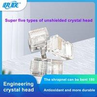 Сетевой кабельный вилка Супер пять кристаллических головки нестандартный тайваньский чип позолоченный японский Teijin пластиковый материал 100 шт. / Бутылка