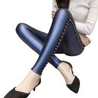 NOUVEAU Hiver PU Cuir Leggings en cuir en polaire Matte épais Femmes Fashion Fashion Rivets Push-up Pantalon Crayon Black violet Bleu Slim Lady Leggins Y200107