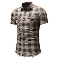2021 نقل طويلة الأكمام قطرة منقوشة الرجال مزقته هوب هوب قميص عارضة الذكور الجينز صالح بلوزة قميص جان هوم ildk
