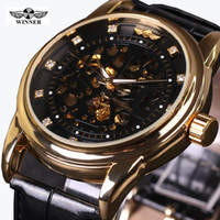 Relojes de pulsera Moda Ganador Ganador Banda de cuero Hombres Esqueleto Automático Mecánico Vestido Vestido Diamante Reloj de pulsera Caja de regalo