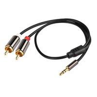 2 RCA para 3.5 cabo de áudio RCA 3.5mm jack masculino para masculino rca aux orador de fone de ouvido de telefone amplificador
