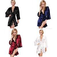 Lady dentelle Sleepwear Home Ameublement Kimono Peignoir Mode Fête Soie Pyjamas Satin Lingerie Night Robe 6YY M2