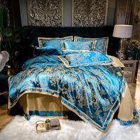 Роскошный европейский стиль шелковистые мягкие постельные принадлежные атласные жаккардовые хлопчатобумажные королевы король одеяя чехол кровать простыня наволочки дома текстиль