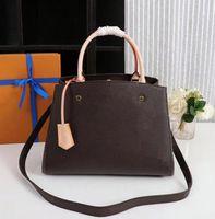 Classic Stampa Flower Genuine Leather Handbags Borse Borse Montaigne Borsa Tote Donne in pelle Singola Borse a tracolla singola Borse Big Shopper Borse Shopper
