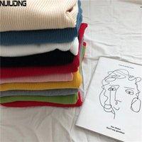 Женские свитеры Nijiuding 2021 Осенние женские трикотажные изделия Slim V-образным вырезом Корейский вязаный повседневный с длинным рукавом сплошной цвет пуловер женский1