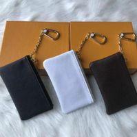 Custodia chiave Damier in pelle reale contiene famoso designer classico di alta qualità donne portachiavi portamonete in cuoio piccolo portafoglio Desig con scatola