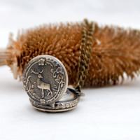 50 pcs 27mm novo pequeno cervo bolso relógio colar acessórios vintage atacado coreano camisola cadeia moda pendurado moda relógio