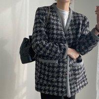 Kadın Ceketler [EWQ] 2021 Sonbahar Kış Kadın V Yaka Uzun kollu Tek Göğüslü Minimalist Patchwork Panelli Ekose Yün Suit Coat 8D4