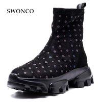 Stiefel Swonco Reizende Socke Schuhe Frauen Knöchel Schwarz Sneakers Platform 2021 Herbst Weibliche Kausla Kurzrohr Womans