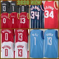 2021 Новый Джеймс 13 Хардин Баскетбол Джерси Рассел 0 WestBrook Mens Hakeem 34 Olajuwon Дешевый John 1 Стена Сетка Ретро Лоу