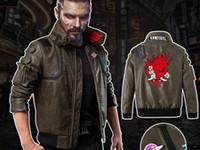 Cyberpunk 2077-V Nakış PU Deri Kostüm Ceket