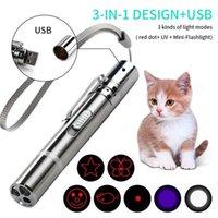 3 em 1 USB recarregável gato engraçado gato brinquedos mini laser laser laser caneta luz gato ponteiros de luz engraçado animal de estimação brinquedos Dropshipping lj201125