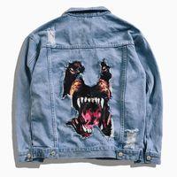 Denim jaqueta homens hip hop streetwear cabeça de cão impressão cowboy rasgado angustiado jean jaqueta homens marca casual jaqueta z1210