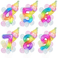 40inch 컬러 번호 Ballons 아이스크림 호일 풍선 크리스탈 투명 무지개 번호 Baloon 생일 파티 장식 아이들
