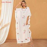 ملابس عرقية أبيض مسلم اللباس النسائية العباءة دبي 2021 تركيا قفطان الأزهار المغربية الإسلامية الإسلامية ماكسي فساتين سيدة رداء 1
