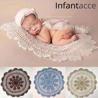 55 cm círculo de ganchillo manta de algodón recién nacido fotografía accesorios capa capa canasta relleno relleno bebé foto premuerra 201109