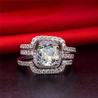 18 carati in oro bianco placcato perfetto 3CT cuscino anello di fidanzamento per le donne fasce nuziali NSCD simulato anelli di diamanti impostati gioielli anniversario