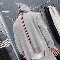2020 erkek ve kadın sonbahar ve kış browne yeni pamuk dokuma dikiş kapüşonlu kazak rahat fermuar hırka thom ceket hoodies