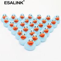 Esalink 30 pcs mini borracha azul pato piscina flutuante shoaky bebê crianças brinquedos de banho 201216