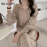 Повседневные платья realft минималистский вязание с капюшоном женщины платье свитер 2021 осень зима с длинным рукавом V-образным вырезом свободно негабарит