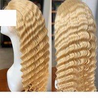 포커 페이스 613 꿀 금발 말레이시아 곱슬 레이스 프런트 가발 딥 웨이브 613 색상 Pre 뽑아진 인간의 머리카락 레이스 정면 가발