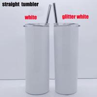 Nuovo ARRIVATO 20OZ Glitter Sublimation Skinny Skinny Tumbler 600ml Acciaio inossidabile Acciaio inossidabile Tumbler con coperchio in metallo Tazza di caffè sottovuoto