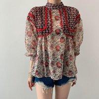 Kore Chic Şifon Dikiş Dantel Uzun Kollu Bluz Gömlek Kadın Sonbahar Yeni Çiçek Baskı Üst Gömlek
