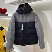 브랜드 남성 나일론 짧은 다운 재킷 디자이너 남성 패딩 된 후드 스냅 버튼 지퍼 포켓 다운 outwear