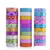 10 stücke Lot Glitter Washi Tape Stationery Scrapbooking Dekorative Klebstoffbänder DIY Masking Tape Schulbedarf 2016 Ygnui