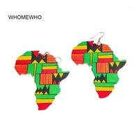 매달아 샹들리에 아프리카지도 개요 나무 아프리카 다채로운 인쇄 줄무늬 삼각형 기하학적 아프리카 귀걸이 빈티지 쥬얼리 나무 DIY ACC
