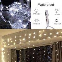 Скидка 300 светодиодный белый свет романтический рождественские свадьбы наружные украшения занавес строки Light 110V высокая яркости светодиодные струны