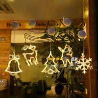 LED Navidad Luz de luz Succión Succión Lámpara Estrella String String Lights Window Decoration Lights Bells Snowflake Tree 100pcs T1I3043