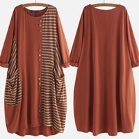 Moda Rayas Rayas Vestido Para Mujer Primavera Sundress Zanzea 2020 Causal Manga Larga Túnica Vestidos Mujer Partido Robe S-5XL Y0118