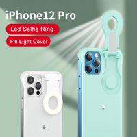 Selfie ضوء الهاتف حالة led ملء ضوء حلقة فلاش الهاتف حالة الغطاء الواقي لفون 12 12 برو ماكس