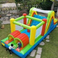 Quintal Todos em 1 Home Uso Inflável Grande Obstáculo Curso Jump Trampoline Bouncer Nylon Bounce Casa com ventilador