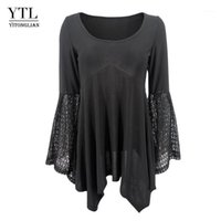 Yitonglian Women Flare Sleeve Round Neck Vintage Style Pizzo Black Black Black Blouse Blacks Blacks Elegante Top Manica lunga Tee H3761
