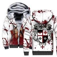 Tessffel Çapraz Templar Şövalyeleri 3D Baskılı Kış Hoodie Polar Sıcak Hood Kalın Ceket Fermuar erkek Hoodies Ceket Stil-1