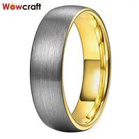 Banda di nozze del tungsteno dell'oro 6mm per le donne spazzolato anelli di gioielli di tungsteno di fidanzamento Comfort Fit Domed1