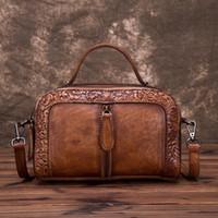 Alta Qualidade Genuíno Mulheres Mulheres De Caçador Superior Sacos Videira Embossed Tote Bolsa Vintage Crossbody Ombro Messenger Bag