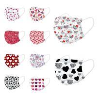 2021 Día de San Valentín Regalos Día Desechable Mascarilla Mujeres Diseñador Mascarilla Mascarilla Adulto Anti-polvo Máscaras de algodón de la boca Favorecer Favor