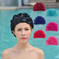 Женская шляпа плавать лепесток петли шляпа шляпа женщина крышка плавание цветочные цветы купание ретро привлекательный старинный cffwo