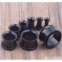 100 قطعة / الوحدة مزيج 3-14 ملليمتر الفولاذ المقاوم للصدأ أسود واحد مضيئة الأذن النفق الجسم مجوهرات الأذن التوصيل فاض jllpcc home003