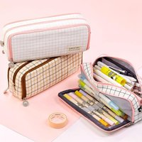 Bleistiftkoffer Cute Grid Case Kawaii Canvas Tasche für Studenten Große Kapazität Schreibwaren Tasche Kreative Schulbedarf