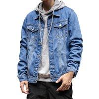 남자 자켓 재킷 남자 가을 겨울 버튼 솔리드 컬러 빈티지 데님 탑 코트 전술 Streetwear Jean 2021