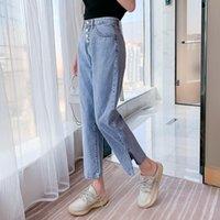 2021 Новый дизайн Мама Джинсовые джинсы Мода Женщины Высокая Талия Бул Бюл Длина Джинсы Джинсы Винтаж Свободные Сплит Прямой Корейский Стиль