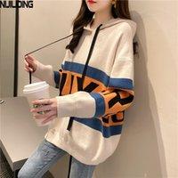 Nijiuding осень зимний пуловер с капюшоном вязаный свитер Женская уличная одежда повседневная шерстяная буква зашнуровать Свободные свитеры FEMME 201023