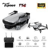 Drones Topacc T58 WiFi FPV 106.7g Brazo plegable Drone RC Quadcopter Mini gran angular Profesional HD 1080p cámara Hight Hold Mode RTF DRON1