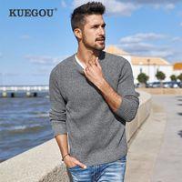 Kuegou 100% algodão outono inverno macho camisola moda rodada colarinho malha camisola magro homens tops plus size az-14012 201124